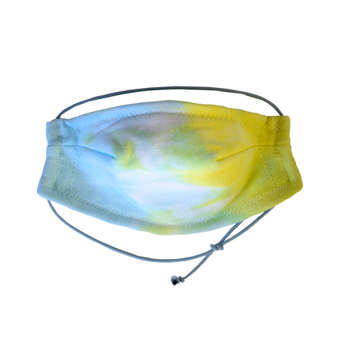 5 Layer Twist Dye Face Mask - Aqua/Yellow