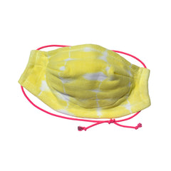 Hand Made 100% Cotton Bamboo tie dyed lightweight 5 layer Face Mask with adjustable strap in Yellow