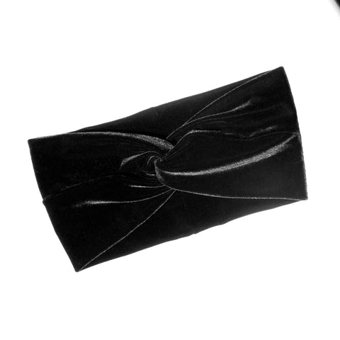 Stretch Velvet Headband - Jet Black