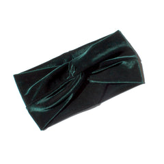 Stretch Velvet Headband in Hunter Green
