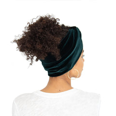 Back view of Stretch velvet headband in Hunter green