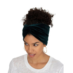 Stretch Velvet Headband in Hunter Grenn