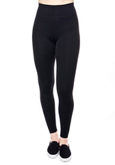 High waisted legging in Black with hidden back pocket and foldover waistband made from premium high performance activewear fabric that wicks moisture away from your body to keep you comfortable