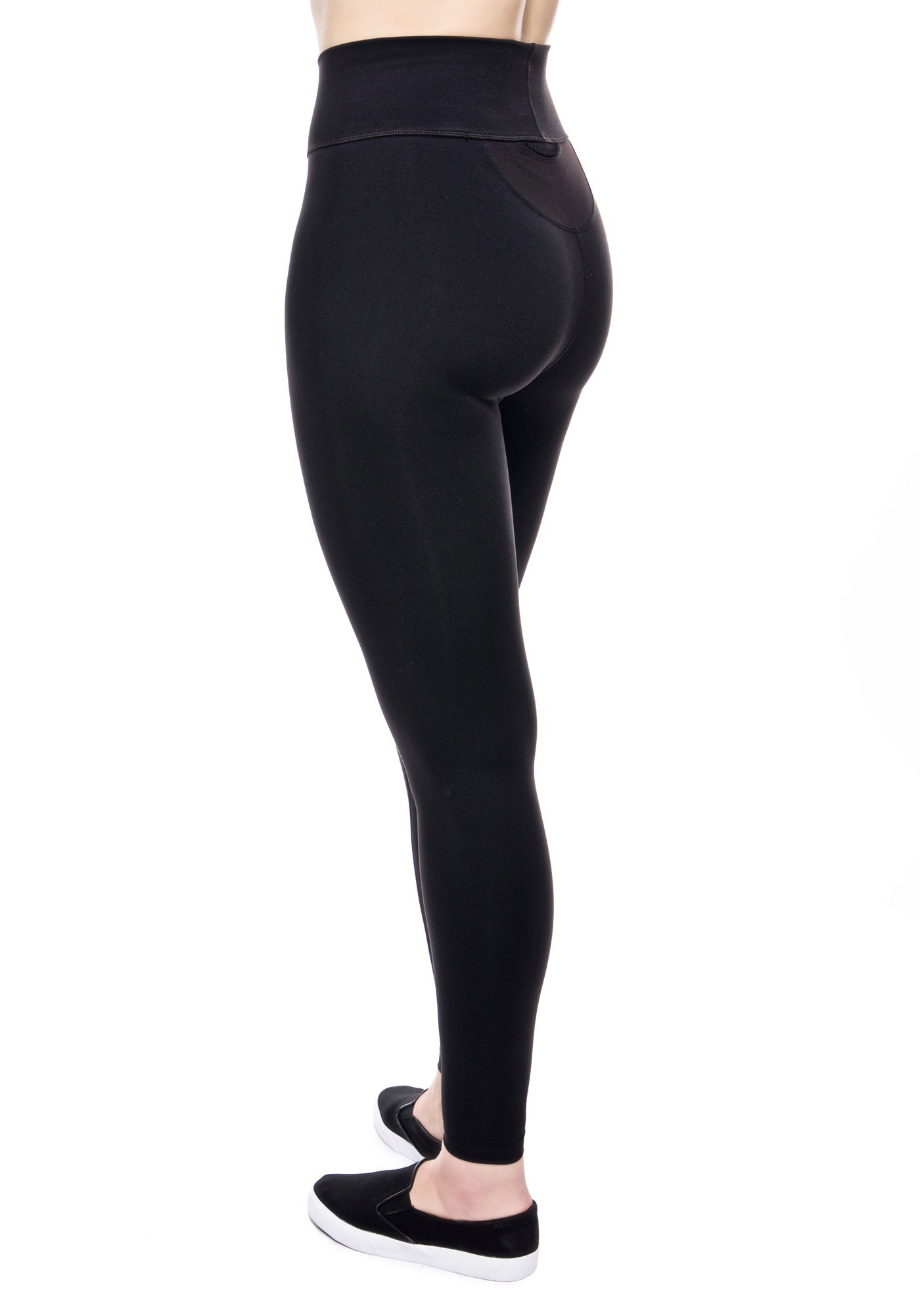Back view of our high waisted legging in Black with hidden back pocket and foldover waistband made from premium high performance activewear fabric that wicks moisture away from your body to keep you comfortable