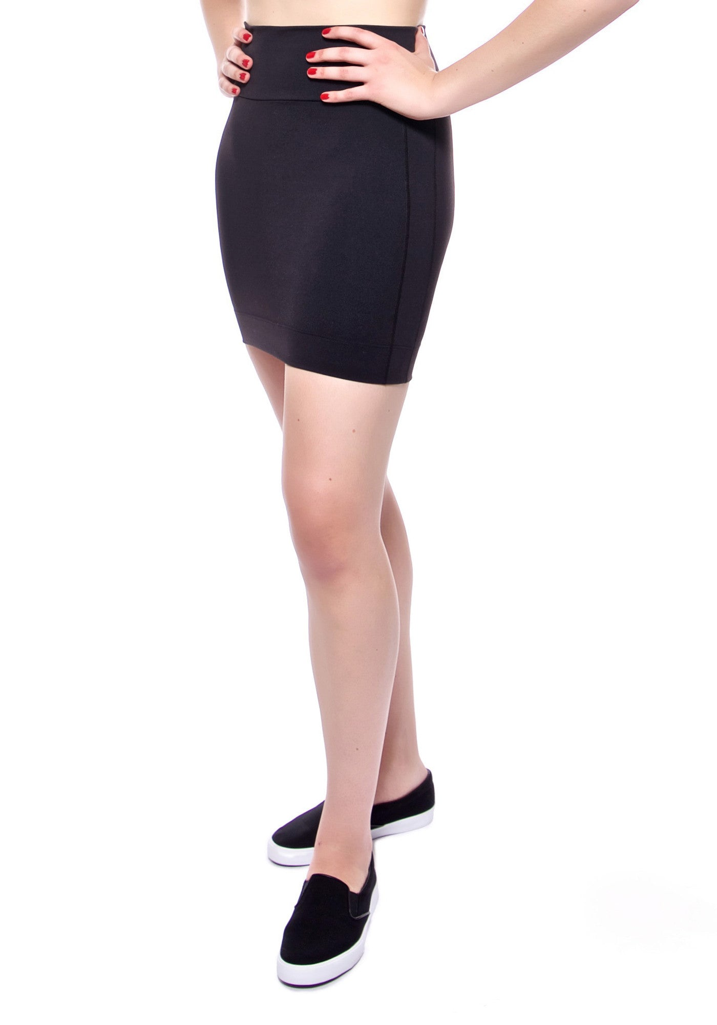 High waisted black mini skirt made from premium high performance activewear fabric with handy back waist pocket