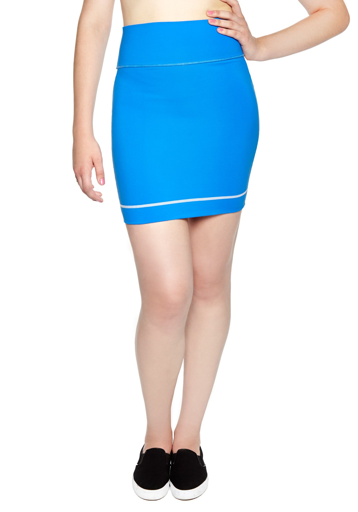 Comfortable Mini Skirt in thick stretch fabric. Bright blue with contrast white panel and hem stitch. Back pocket at waist.