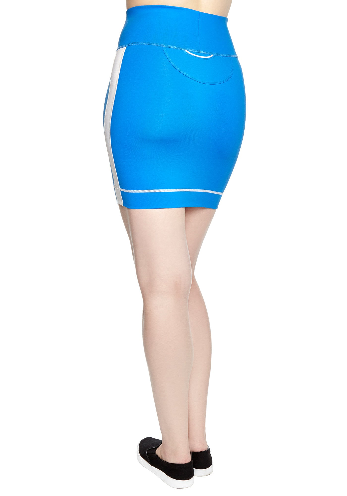 Back view of comfortable Mini Skirt in thick stretch fabric. Bright blue with contrast white panel and hem stitch. Back pocket at waist.