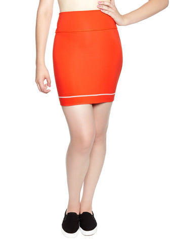 Comfortable Mini Skirt in thick stretch fabric. Bright Poppy Red with contrast white panel and hem stitch. Back pocket at waist.