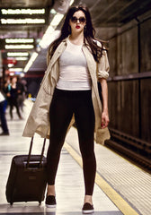 Best leggings for travel, our high waisted legging in Black with hidden back pocket and foldover waistband made from premium high performance activewear fabric that wicks moisture away from your body to keep you comfortable + no side seam so great for working out or traveling in comfort