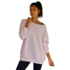 Our best selling oversized french terry top with raw edge neckline, side seam pockets shown here in Candy Pink.