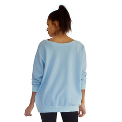 Back view of our best selling oversized french terry top with raw edge neckline, side seam pockets shown here in Sky Blue