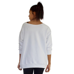 Back view of Our best selling oversized french terry top with raw edge neckline, side seam pockets shown here in White