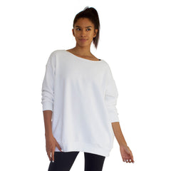 Our best selling oversized french terry top with raw edge neckline, side seam pockets shown here in White