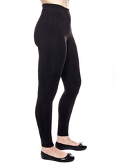 side view of our our high waisted legging in Black with hidden drawstring at waist.