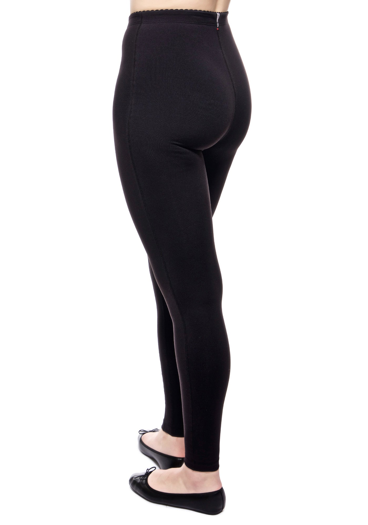 Back view of our high waisted legging in Black with hidden drawstring at waist.
