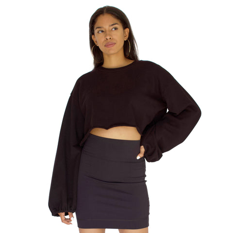 French Terry Slingshot Crop-Black