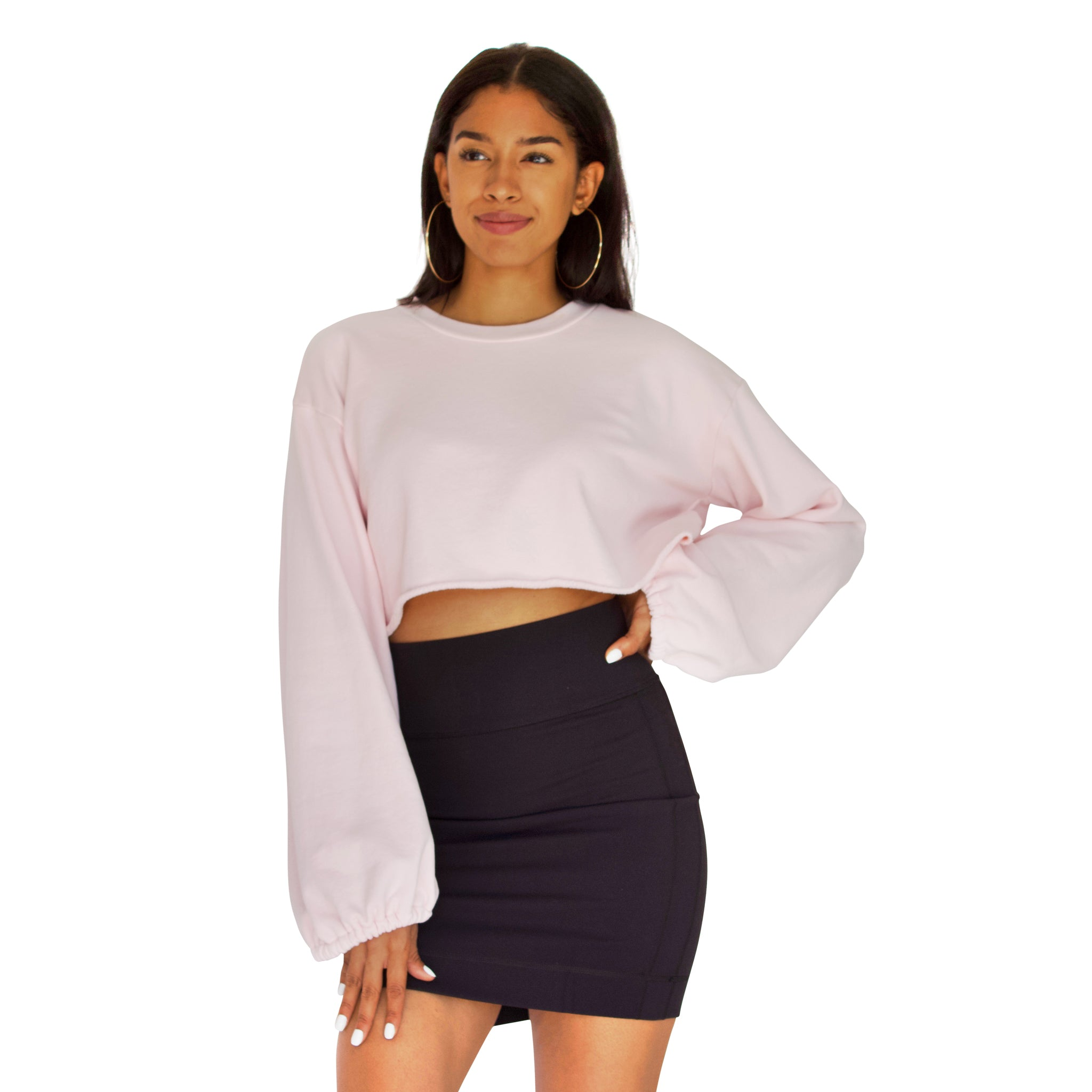Balloon sleeve French Terry crop top in Candy Pink