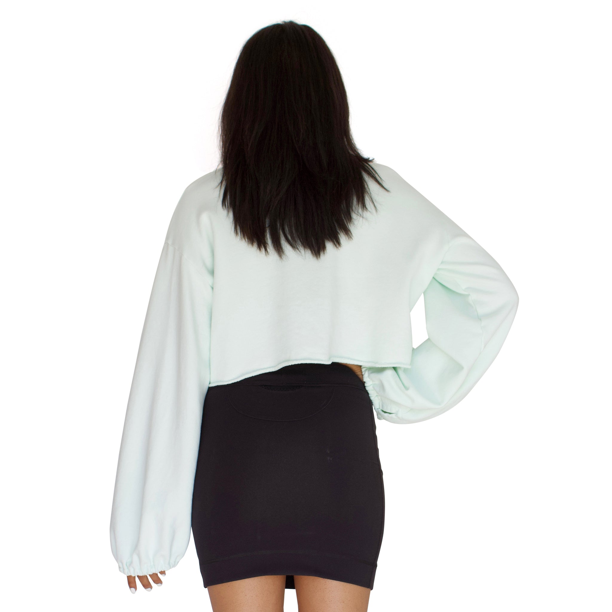 balloon sleeve french terry crop top in mint green back view