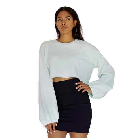 Balloon sleeve French Terry crop top in Mint Green
