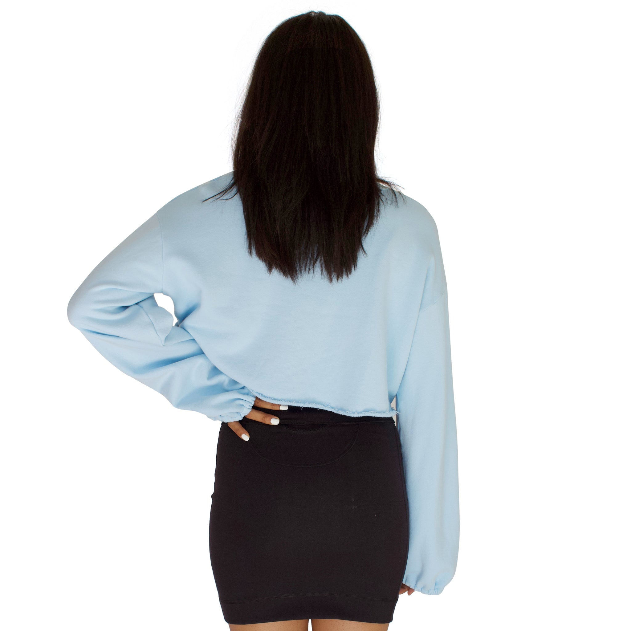 Balloon sleeve french terry crop top in sky blue back view