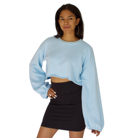 French Terry Slingshot Crop - Sky Blue
