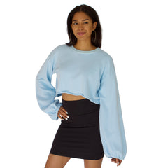 Balloon sleeve French Terry crop top in Sky Blue