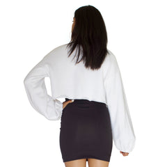 balloon sleeve french terry crop top in white back view
