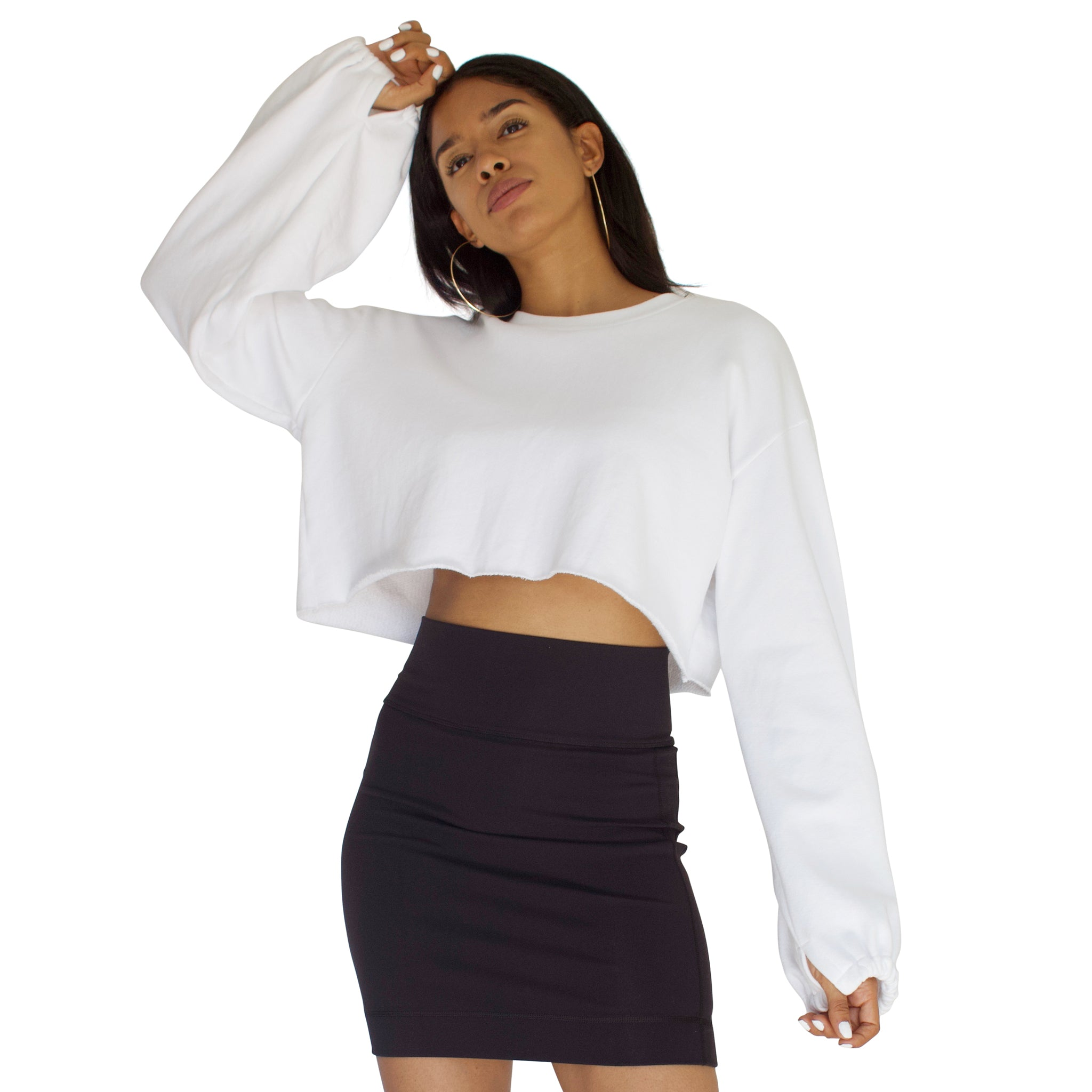 Balloon sleeve French Terry crop top in White