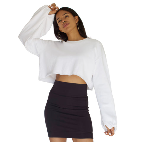 French Terry Slingshot Crop - White