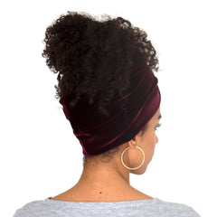 Back view of stretch velvet headband in Sangria (burgundy)