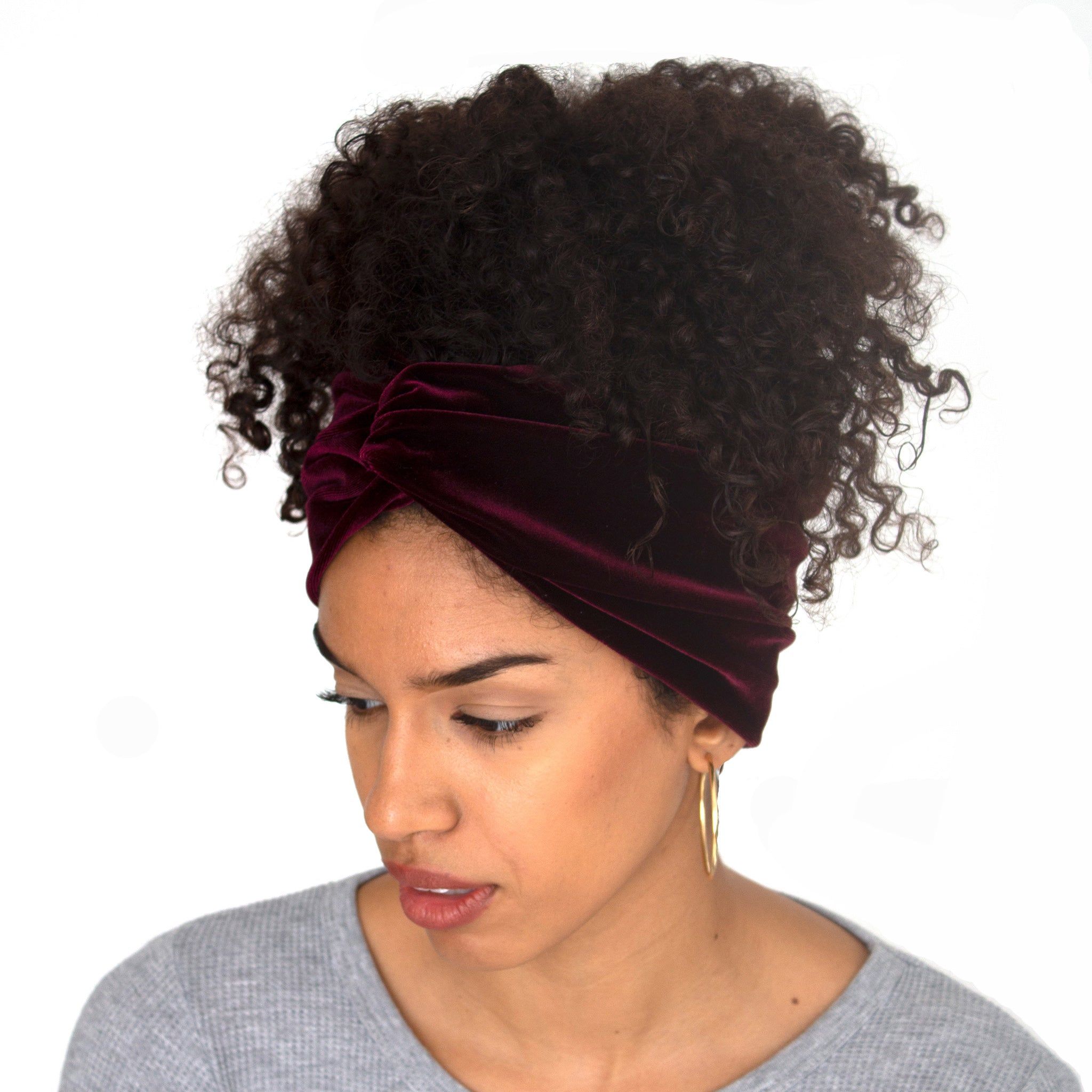 Stretch velvet headband in Sangria (burgundy)