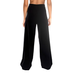 "Back view of Stretch Velvet Track Pant in Black has elastic waist with 32"" inseam"