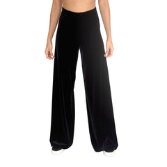 "Front view of stretch velvet track pant in Black. Has elastic waist with 32"" inseam."