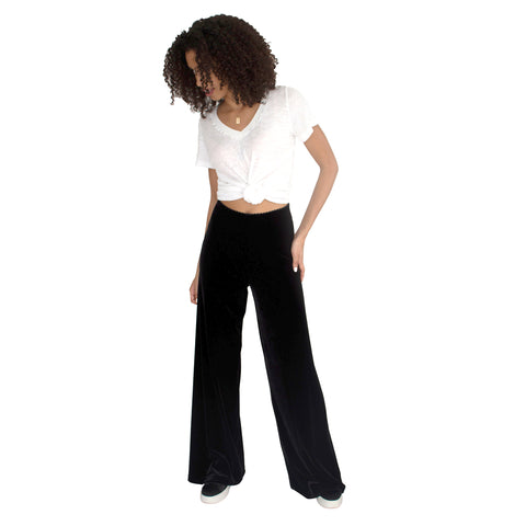 "Stretch velvet Track pant in Black has elastic waist with 32"" inseam"