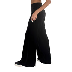"Side view of Stretch Velvet Track Pant in Black has elastic waist with 32"" inseam"