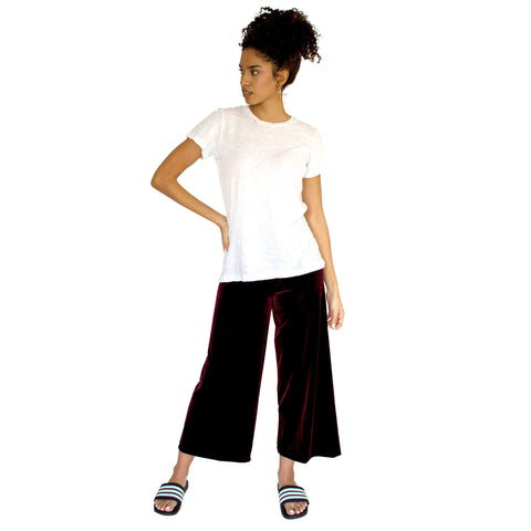 "Cropped Length Stretch Velvet Pant in Sangria Wine (Burgundy) has elastic waist and 26"" inseam."