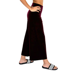 "Side view of our Cropped Length Stretch Velvet Pant in Sangria Wine (Burgundy) has elastic waist and 26"" inseam."