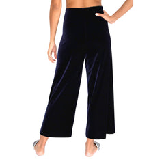 "Back view of our Cropped Length Stretch Velvet Pant in Sapphire (Dark Blue) has elastic waist and 26"" inseam."