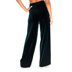 Stretch Velvet Track Pant in dark forrest green (Hunter)