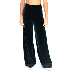 "Front view of our Stretch Velvet Track Pant in Hunter (Dark Green) with elastic waist and 32"" inseam."