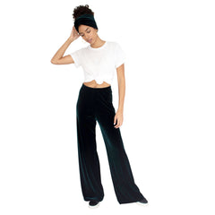 "Stretch Velvet Track Pant in Hunter (Dark Green) with elastic waist and 32"" inseam."