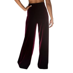 "Back view of our Stretch Velvet Pant in Sangria Wine (Burgundy) has elastic waist and 32"" inseam"