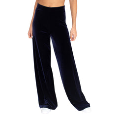"Front view of our Stretch Velvet Pant in Sapphire (Dark Blue) has elastic waist and 32"" inseam."