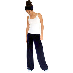 "Stretch Velvet Pant in Sapphire (Dark Blue) has elastic waist and 32"" inseam."