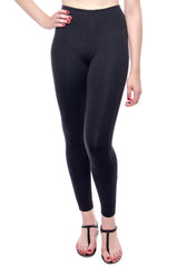 High waisted Black legging with Zippers at leg opening, flattering zig zag stitching detail on legs.
