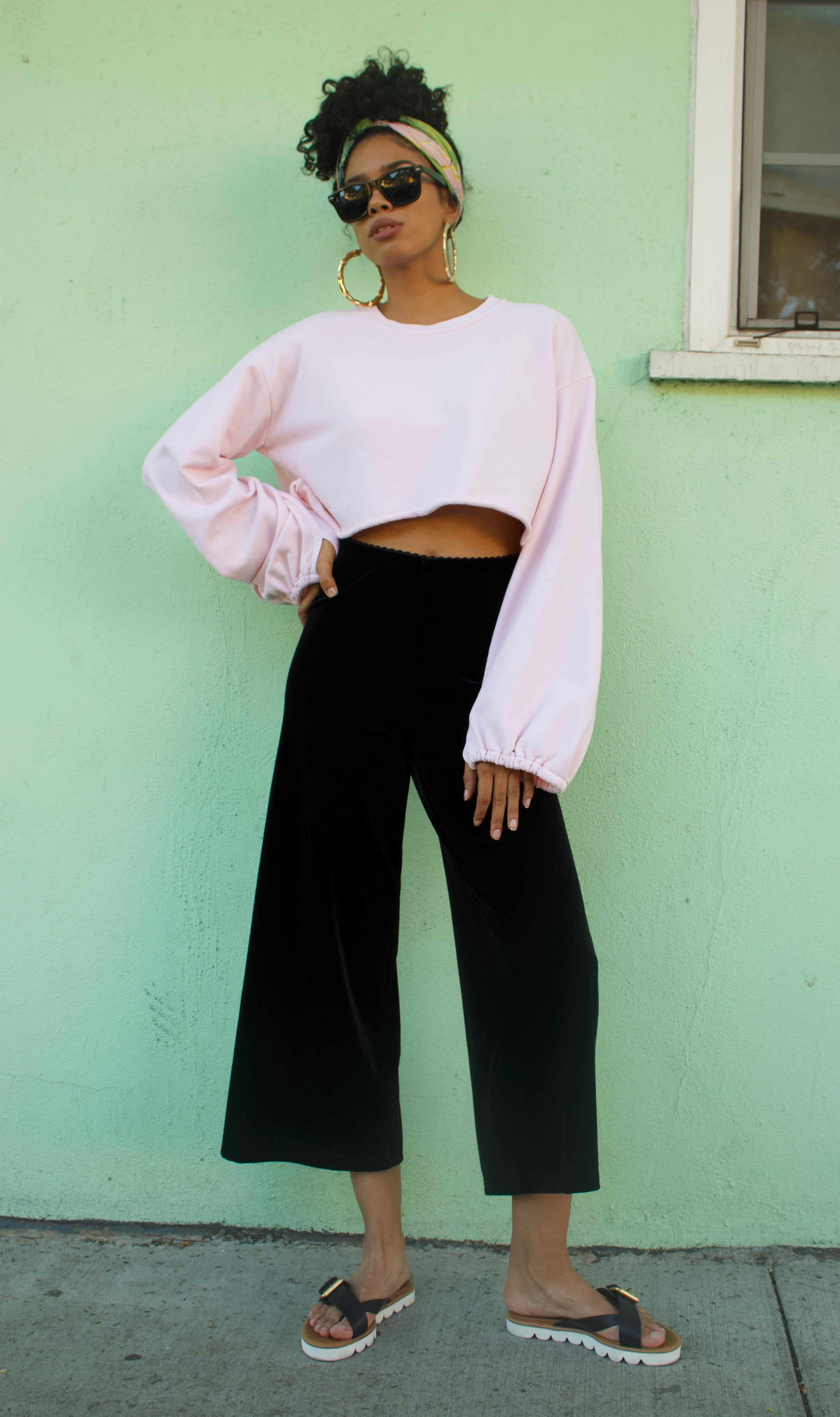 Street Shot of our Balloon sleeve French Terry crop top in Candy Pink