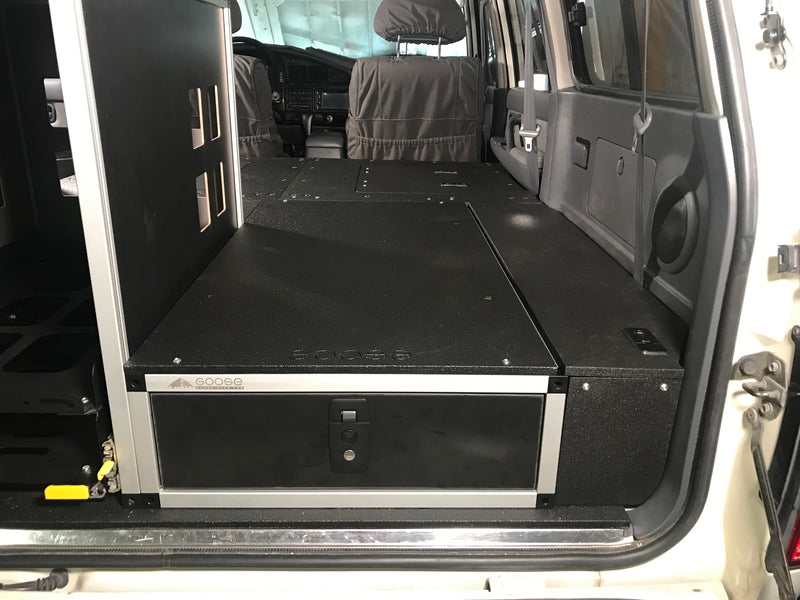 Land Cruiser 80 Series Drawer Module with Optional Top Plate and Wheel Well Storage Access