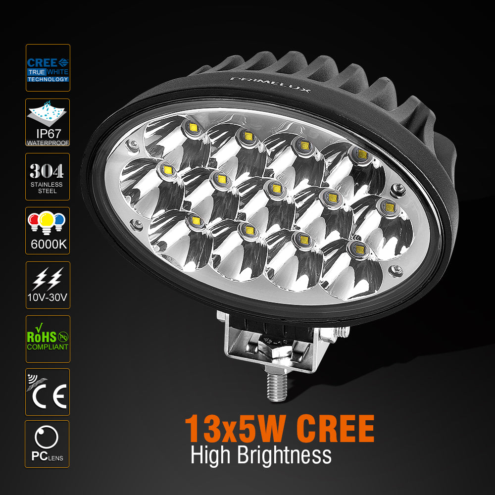 Primelux 6.5-inch 13x5W 5850lm Oval CREE LED Work Light - Spot Beam/Single