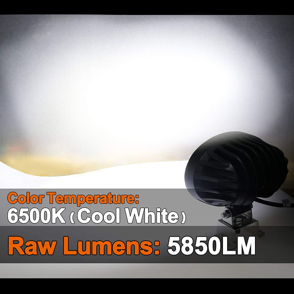 6.5-inch Oval CREE LED Work Light - Flood Beam - 65W - 5850 Lumens