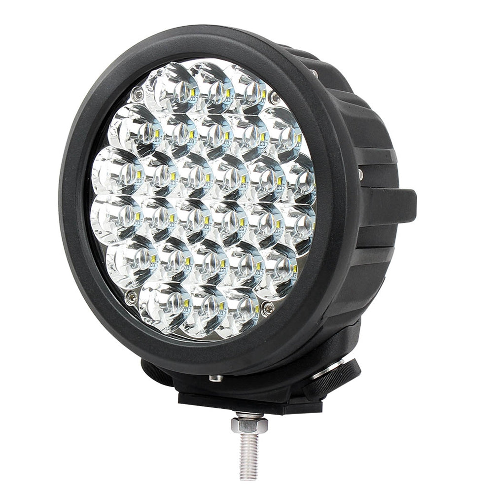 Primelux 7-inch 12600 Lumens Off Road LED Driving Light - 28x5W Cree Spot Beam - (Black Ring - Single)